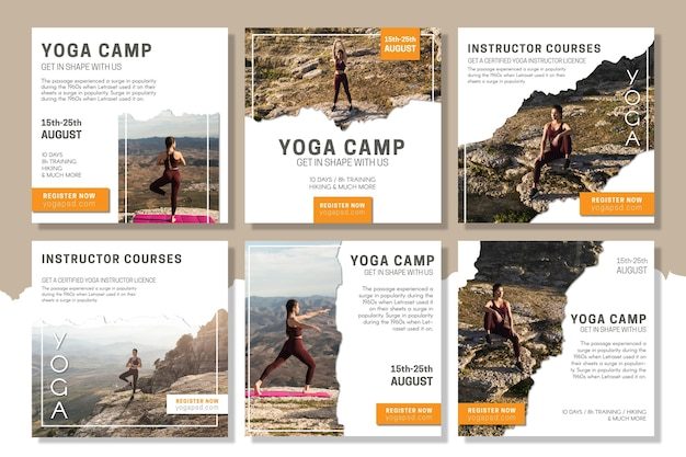 Modèle de post instagram de camp de yoga