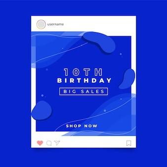 Modèle de post instagram fête d'anniversaire