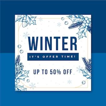 Modèle de post instagram d'hiver illustré