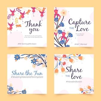 Modèle de post instagram de mariage floral