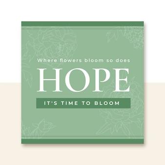 Modèle de post instagram printemps citation florale élégante