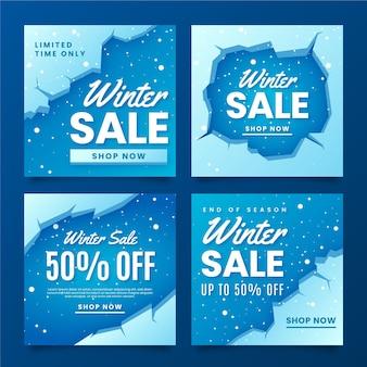 Modèle de post instagram de vente d'hiver avec de la neige