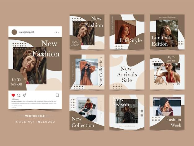 Modèle de post instagram vente de mode tendance abstraite