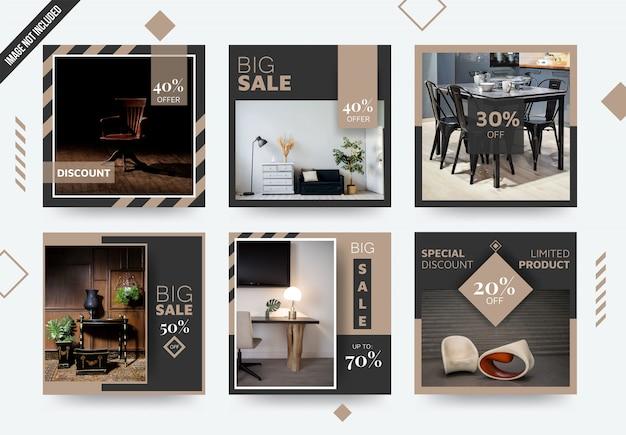 Modèle de poste élégant de médias sociaux de meubles