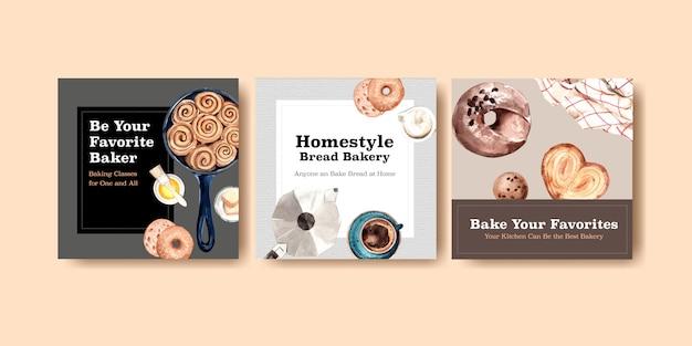 Modèle de poste instagram carré avec conception de boulangerie et illustration aquarelle