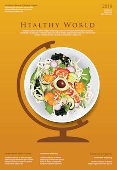 Modèle de poster de salade de légumes aliments biologiques illustration