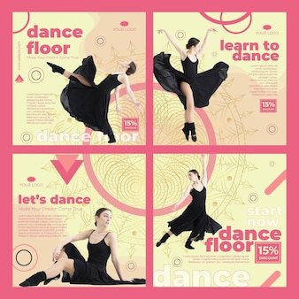 Modèle de posts instagram de classe de danse avec photo