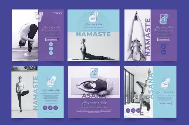 Modèle de posts instagram de cours de yoga