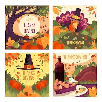 Modèle de posts instagram dessinés à la main pour thanksgiving