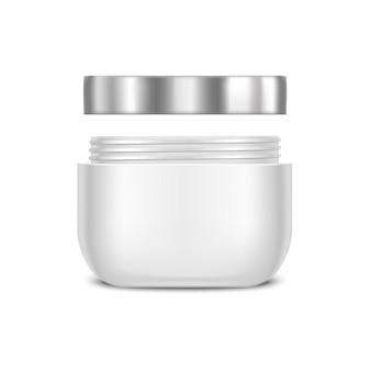 Modèle pot de crème blanche vierge pour la beauté et les soins.