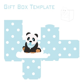 Modèle pour boîte-cadeau panda bébé garçon