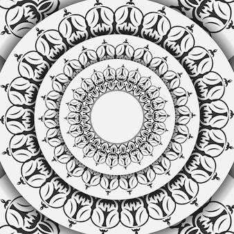 Modèle pour les cartes postales de conception d'impression couleurs blanches avec ornement de mandala. préparation vectorielle de carte d'invitation avec place pour votre texte et motifs vintage.