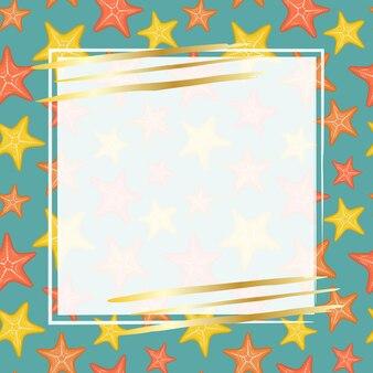 Modèle pour la conception de bannières publicitaires étoiles de mer multicolores sur fond bleu