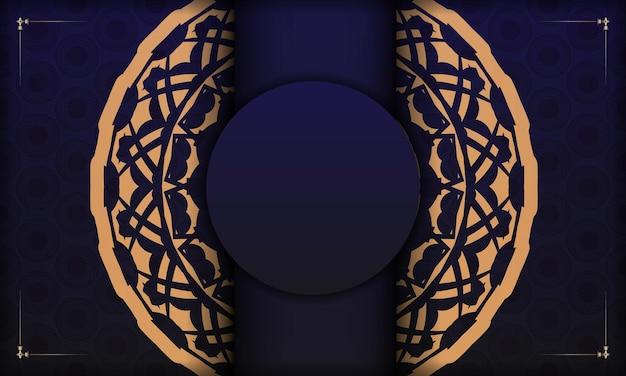 Modèle pour la conception d'impression de carte postale avec des motifs vintage. modèle de bannière bleue avec ornements de luxe et place pour votre logo et texte.