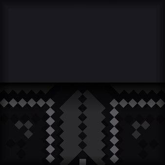 Modèle pour la conception d'impression d'une carte postale en noir avec un ornement slovène. préparer une invitation avec une place pour votre texte et vos motifs vintage.