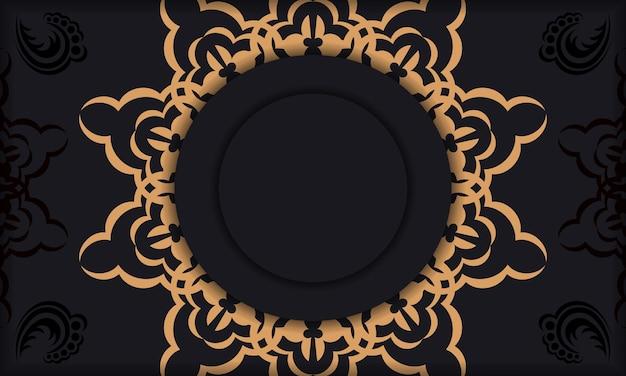 Modèle pour la conception d'impression de carte postale avec ornement vintage. bannière vectorielle noire avec ornements de luxe et place pour votre logo et texte.