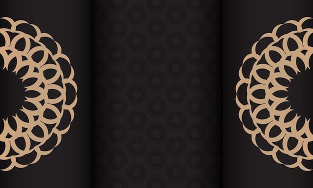 Modèle pour la conception d'impression de carte postale avec ornement vintage. bannière vectorielle noire avec des ornements de luxe pour votre logo.