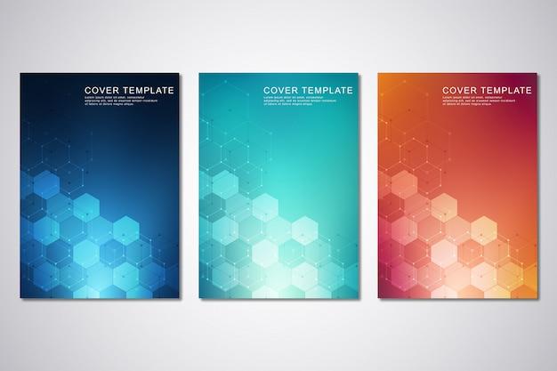 Modèle pour couverture ou brochure, avec hexagones et fond technologique.