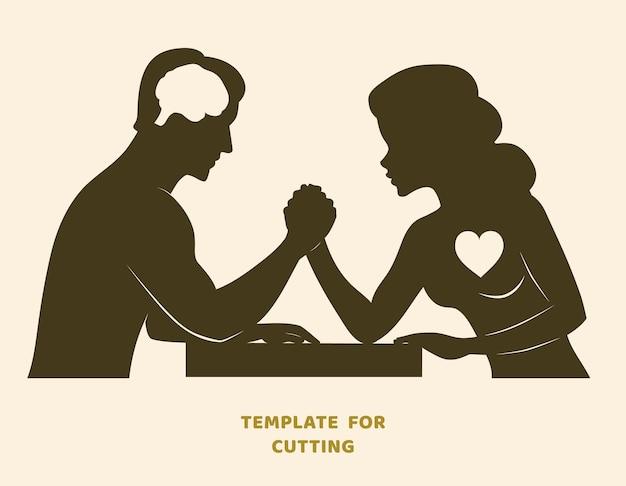 Modèle pour la découpe laser, la sculpture sur bois, le papier découpé. silhouettes à découper. défi de bras de fer entre un pochoir vectoriel de jeune couple.