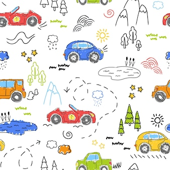 Modèle pour enfants avec de jolies voitures. voitures drôles. illustration vectorielle dessinés à la main.