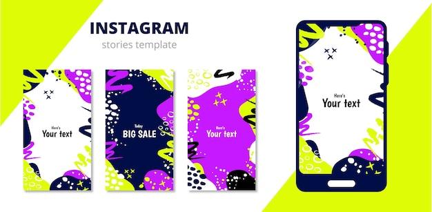 Un modèle pour les histoires sur le réseau social instagram et un modèle de téléphone
