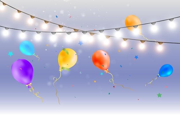 Modèle pour une illustration de félicitations avec des poppers de ballons et des guirlandes
