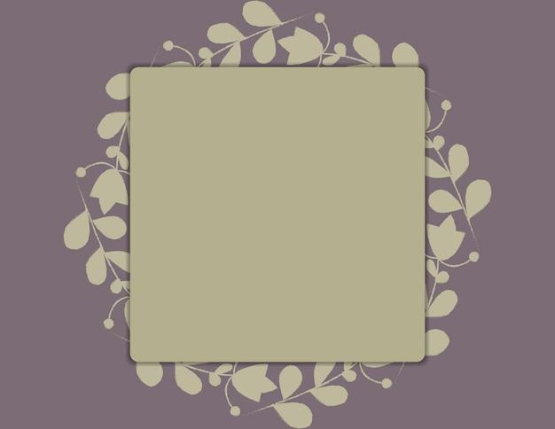 Modèle pour mariage, carte avec cadre et cadre feuillu