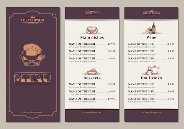 Modèle pour le menu du restaurant