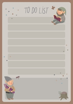 Un modèle pour des planificateurs simples et des listes de tâches pour les enfants avec de jolies illustrations