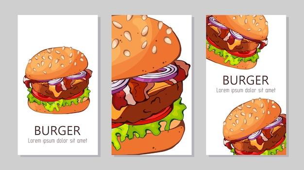 Modèle pour la publicité des hamburgers de différentes recettes.