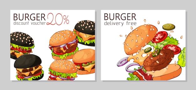 Modèle pour la publicité des hamburgers