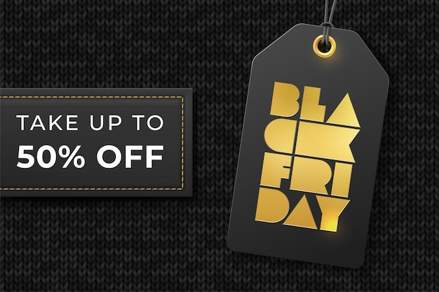 Modèle pour remise et vente black friday avec étiquette de prix, feuille typographique. prenez jusqu'à 50 cinquante pour cent. t