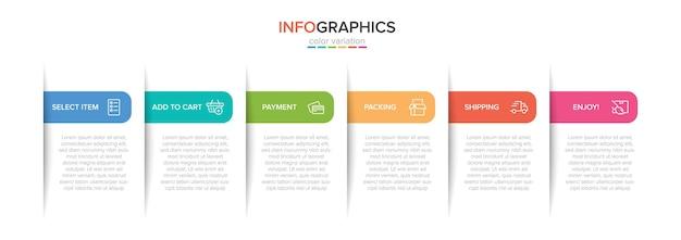 Modèle pour le shopping infographie. six options ou étapes avec des icônes et du texte.