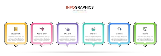 Modèle pour le shopping infographie six options ou étapes avec des icônes et du texte