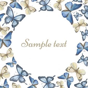 Modèle pour le texte papillons aquarelles