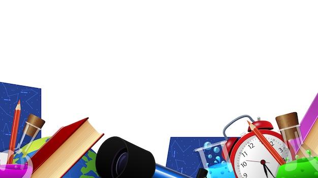 Modèle pour votre créativité, décor de fournitures scolaires, cadre photo