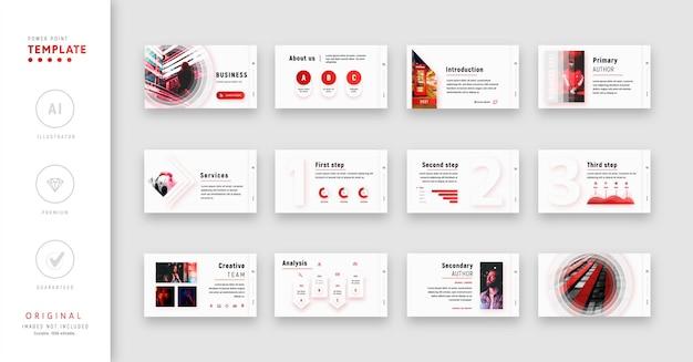 Modèle powerpoint rouge avec des effets de dégradé de style moderne