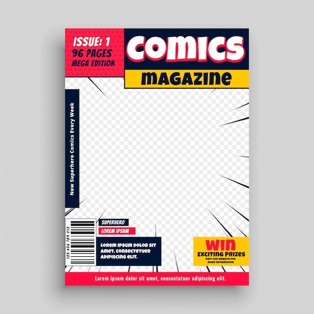 Modèle de première page de livre de magazine de bande dessinée