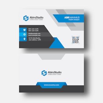 Modèle premium de carte de visite d'entreprise moderne bleu