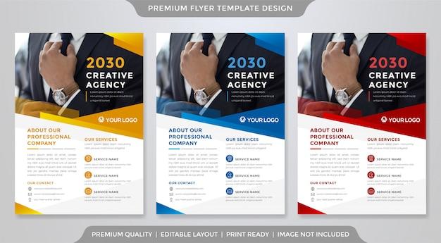 Modèle premium de modèle de flyer d'entreprise minimaliste