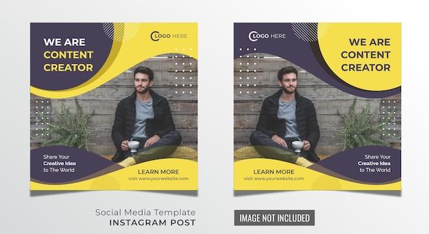 Modèle premium de publication sur les médias sociaux de l'agence de création de contenu