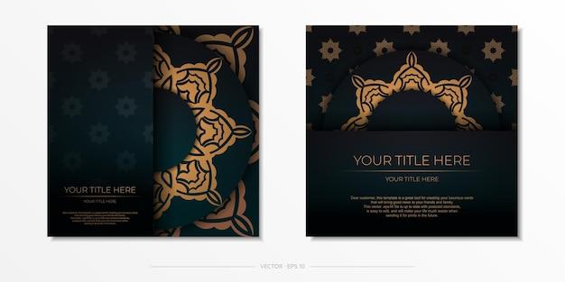 Modèle présentable pour la conception d'impression de carte postale de couleur vert foncé avec ornement arabe. préparation d'une carte d'invitation avec des motifs vintage.