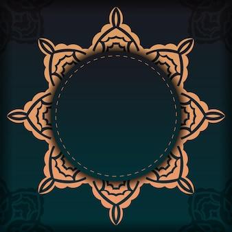 Modèle présentable pour la conception d'impression de carte postale de couleur vert foncé avec ornement arabe. vector préparation de la carte d'invitation avec des motifs vintage.