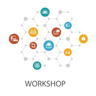 Modèle de présentation de l'atelier, mise en page de la couverture et motivation des infographies, connaissances, intelligence, icônes de pratique