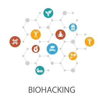 Modèle de présentation de biohacking, mise en page de la couverture et infographie. aliments biologiques, sommeil sain, méditation, icônes de médicaments