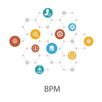 Modèle de présentation bpmp, mise en page de la couverture et infographie. icônes d'affaires, de processus, de gestion, d'organisation