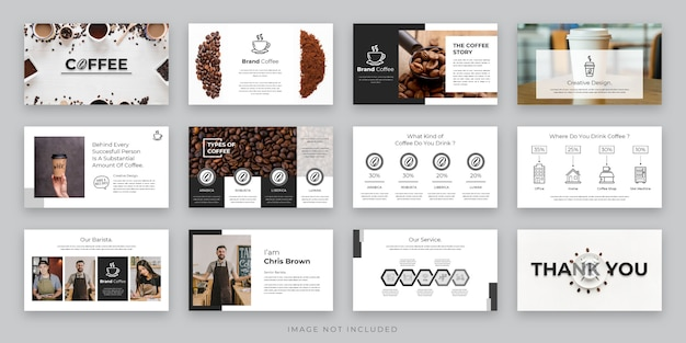 Modèle de présentation de café noir et blanc avec icône d'élément, présentation de projets commerciaux et café marketing