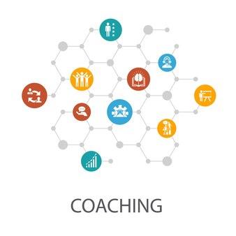 Modèle de présentation de coaching, mise en page de la couverture et infographie. soutien, mentor, compétences, icônes de formation