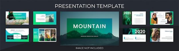 Modèle de présentation avec concept aventure et plein air, couleur vibrante.