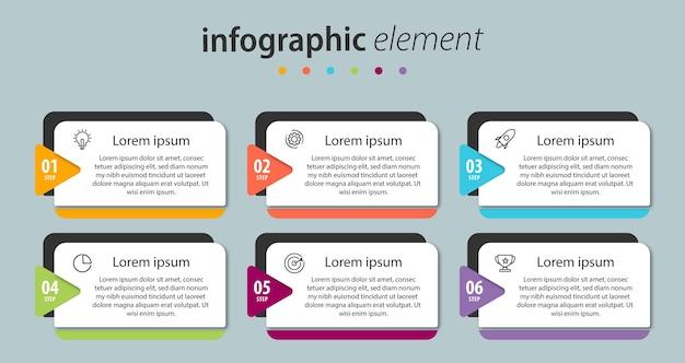 Modèle de présentation de conception infographique avec 6 options